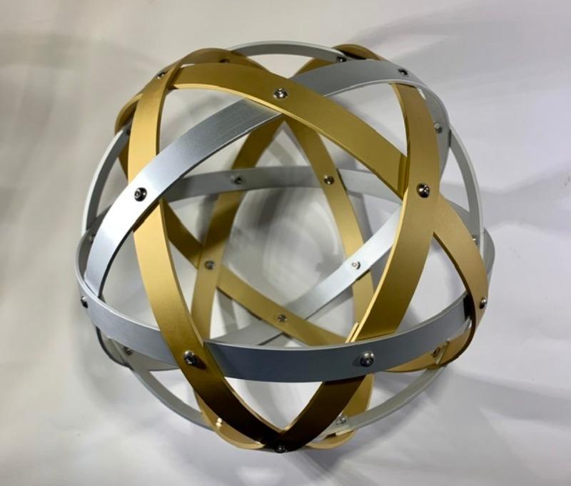 pentasfera-21-cm-alluminio-satinato-argento-e-oro-profilo-1-5-cm